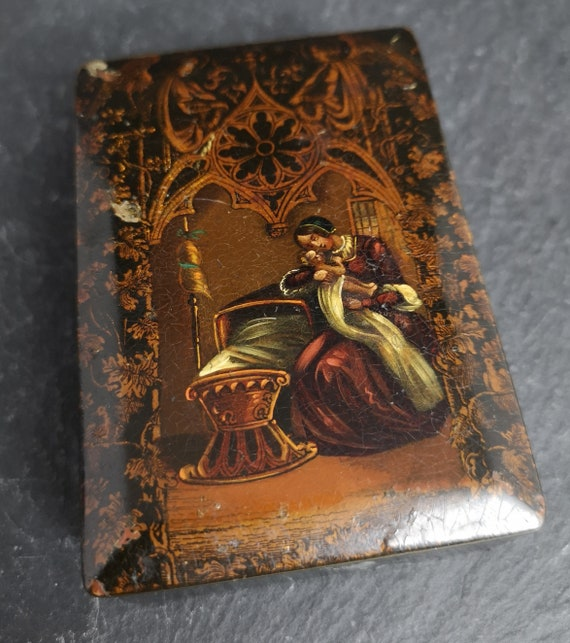 Antique 19th century papier mache snuff box, tobacco box, mother and infant