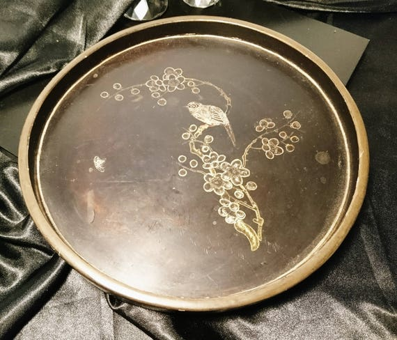 Victorian chinoiserie tray, lacquered and gilt inlaid bird decoration, antique tray