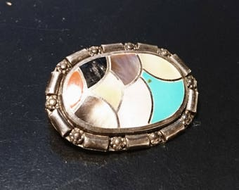 Lovely 30's silver, abalone and enamel brooch, art deco vintage patchwork silver brooch