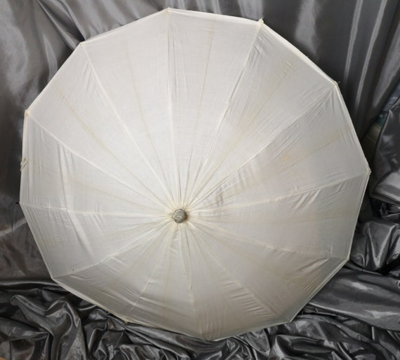 Vintage bathing parasol, beach umbrella, 20's white cotton, celluloid handle
