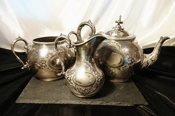 Antique tea set, 3pcs silver plated, teapot, sugar, creamer