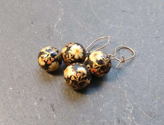 Vintage plique a jour enamel earrings, 1920's, glass beads, floral earrings, pierced ears