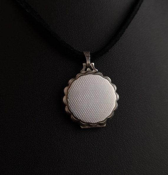 Vintage silver locket, mother of pearl, Rose - image 3