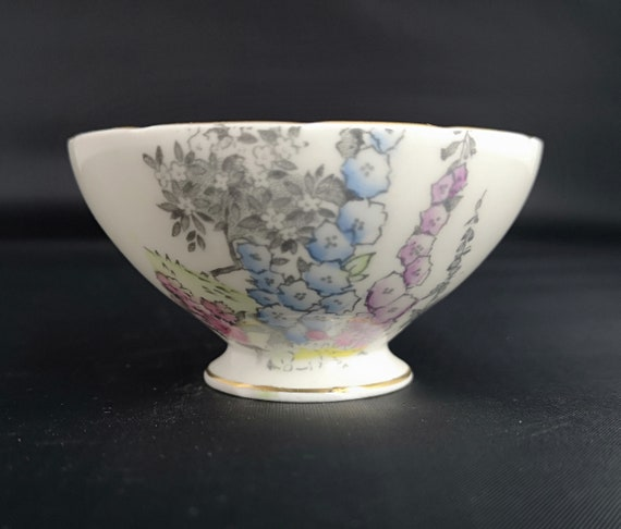 Vintage china sugar bowl, Foley China, floral ceramic bowl