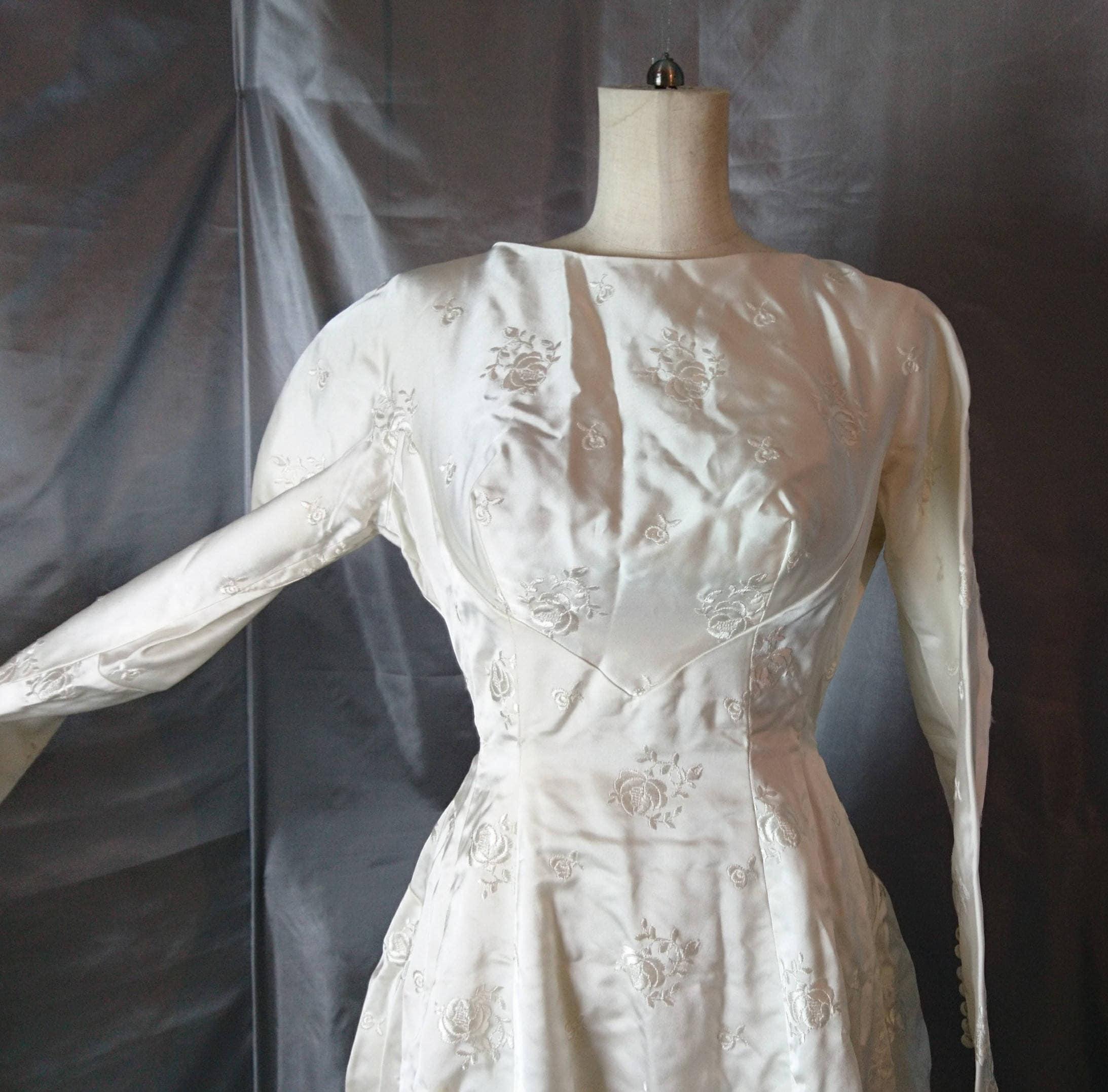 Vintage wedding dress, 1950\'s silk and satin wedding gown, huge rose ...