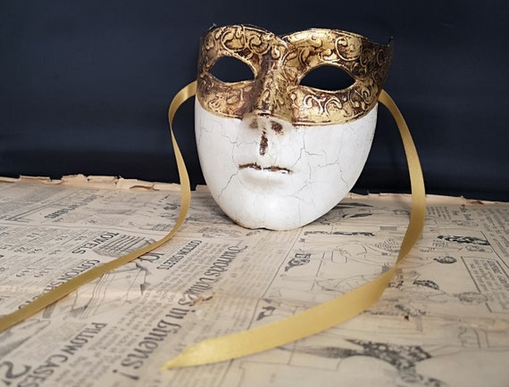 Vintage Venetian mask, male, pageant mask, masquerade, Italian