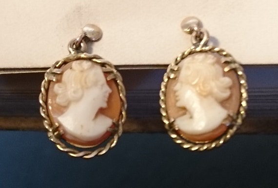 Antique cameo earrings, Victorian 9ct gold screwback, bullmouth shell cameo earrings