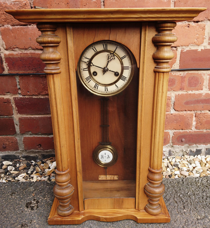 Antique Vienna style wall clock, German pendulum clock, pine