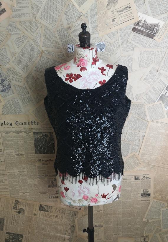 Vintage 1950's Black sequin and beaded vest top, showgirl