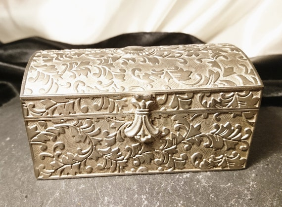 Vintage silver plated jewellery box, casket style, dome top, 1940's