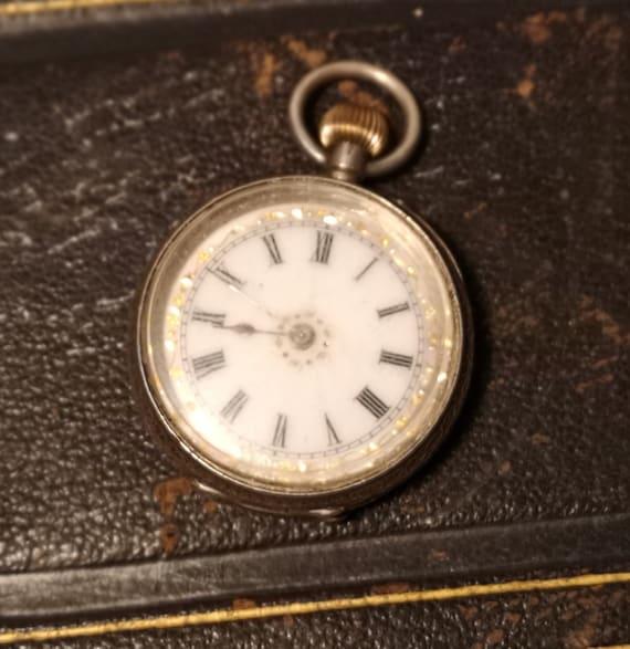 Antique silver pocket watch, Victorian ladies fob watch, working, top wind pocket watch