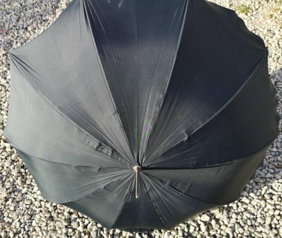 Vintage 50s umbrella, leather handle, black and blue