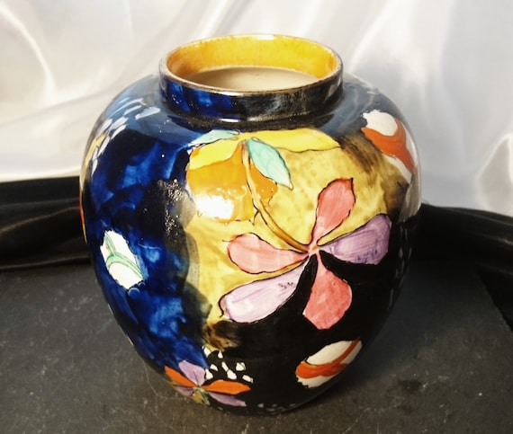 Vintage vase, Molly Hancock, Coronaware, Cremorne, hand painted and signed, 1930's ovoid vase