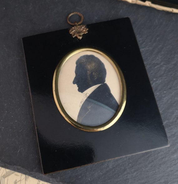 Antique Georgian portrait silhouette, framed