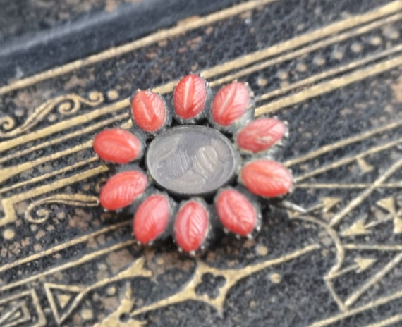 Victorian coral mourning brooch, hairwork, 9ct gold