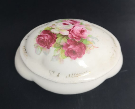 Antique China trinket pot, floral bombe shaped pot