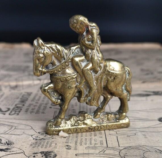 Vintage brass Lady Godiva ornament