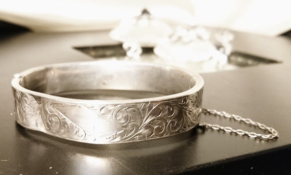 Antique sterling silver bangle, hinged and engraved silver bangle, Victorian