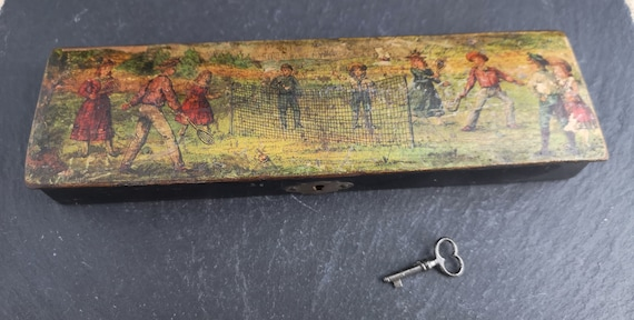 Antique Edwardian papier mache pencil box with key