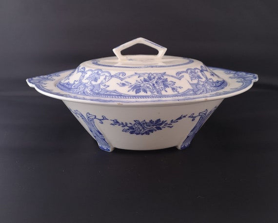 Vintage blue and white tureen, 30s transferware soup tureen