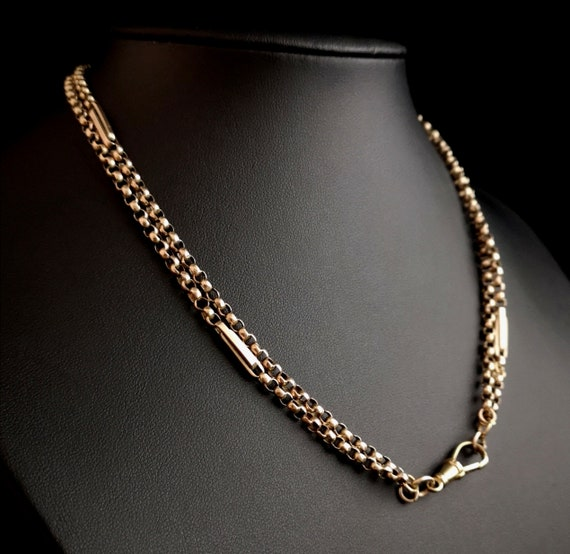 Antique 9ct gold muff chain, watch chain, necklace