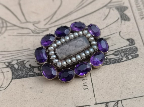 Antique mourning brooch, Georgian amethyst and seed pearl, hair verso, inscribed, 9ct gold