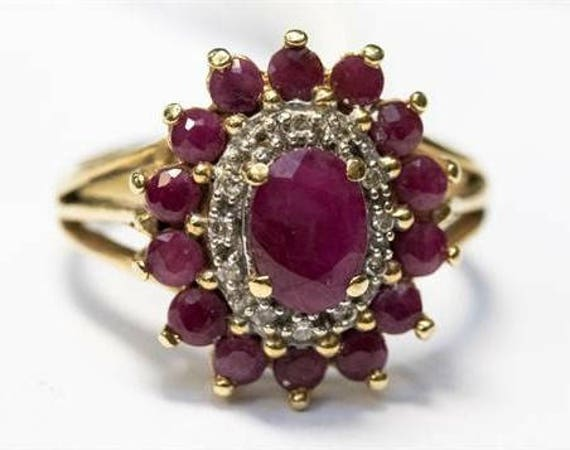 Vintage Ruby and Diamond cluster ring, 14k gold, estate jewelry