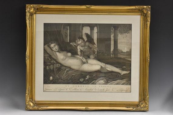 Antique French engraving, Vénus and Cupid, Le Sommeil de Vénus, Lempereur after Carracci, 18th century, antique fine art