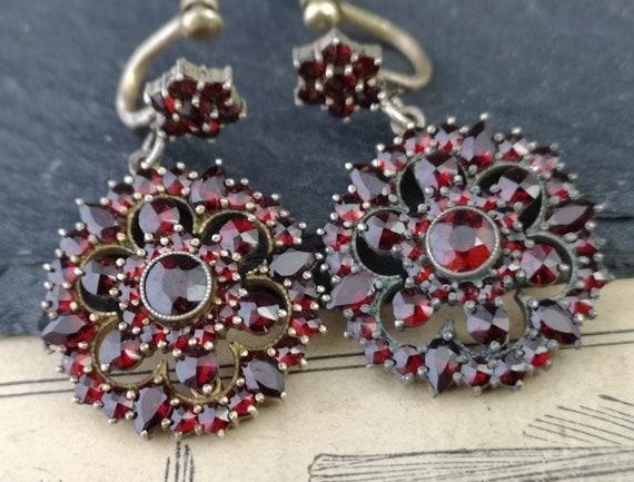 Antique Victorian bohemian garnet earrings, forget me not, dangly earrings
