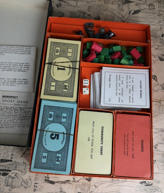 Vintage 30's monopoly game, pre patent, vintage board games