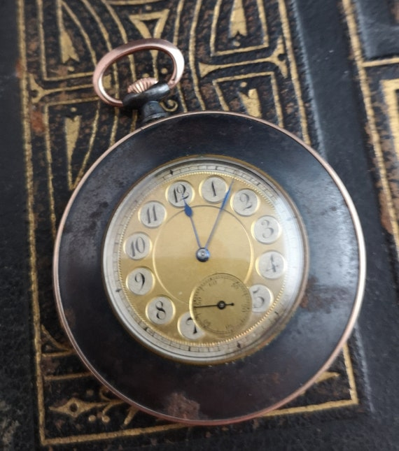 Antique gold and gunmetal pocket watch, top wind fob watch, working