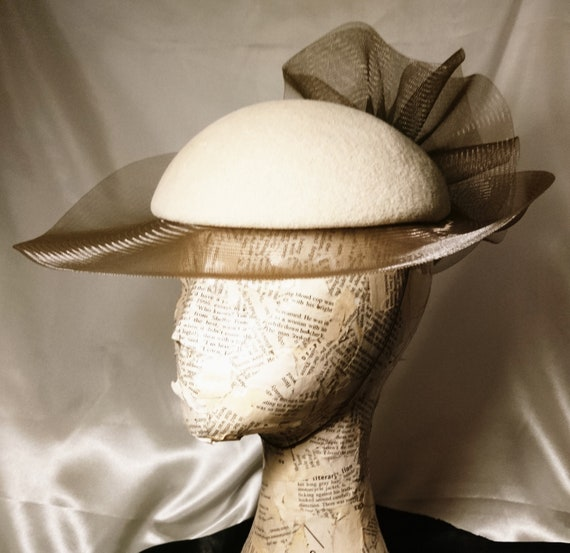 Vintage 50's formal hat, Connor hats, raceday, wedding, summer, ladies vintage hats, coffee / mocha