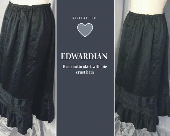 Edwardian satin and silk skirt, pie crust hem, antique black skirt