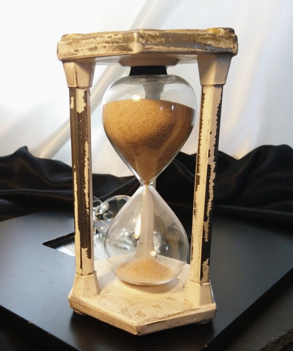 Antique egg timer, Rustic iron hourglass, painted, shabby chic timer, primitive