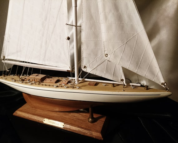 Vintage model boat, scratch built Shamrock yacht, America's Cup, scale model
