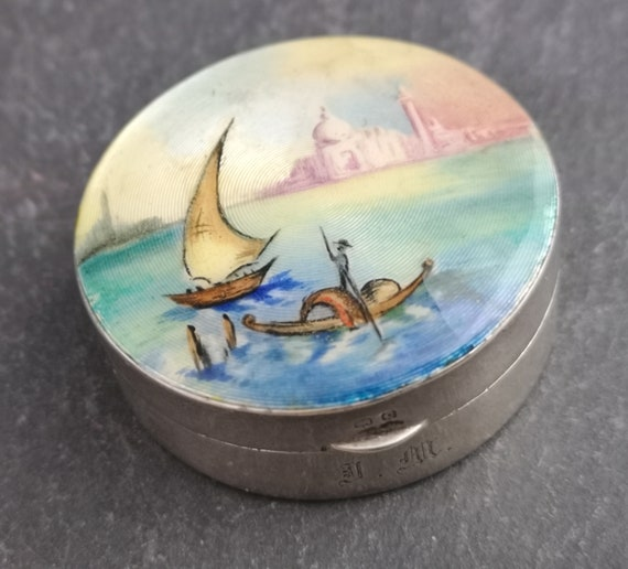 Vintage sterling silver and guilloche enamel box, hand painted scene, 1920's