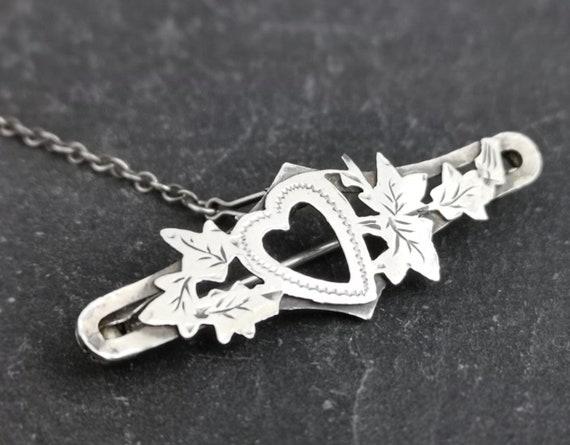 Antique Victorian silver heart brooch, sweetheart pin