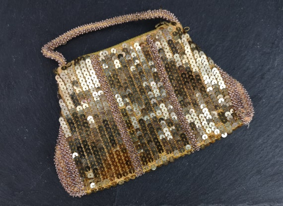 Vintage 40's beaded and sequin purse, gold tone evening purse