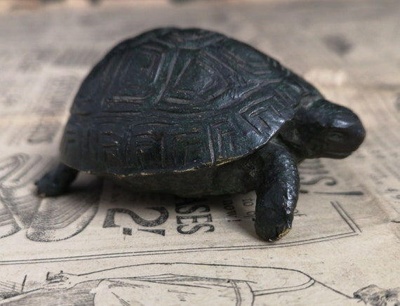 Antique bronze tortoise, heavy solid patinated bronze, tortoise figure