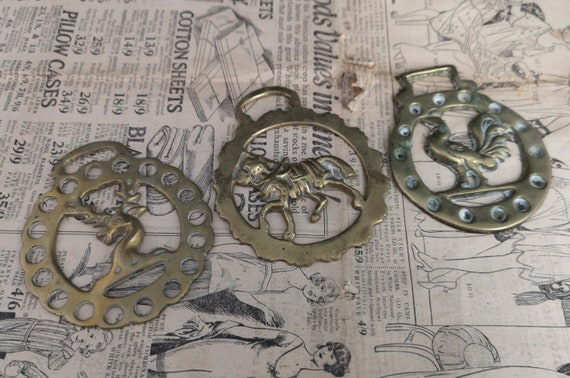 Antique horse brasses, Cockerel, horse and deer designs, Victorian set of 3