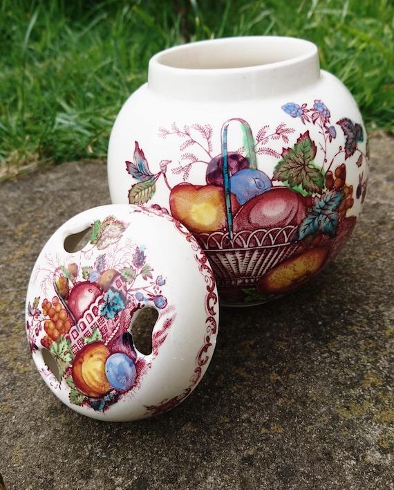 Mason's ginger jar, Mason's ironstone vintage ginger jar, fruit basket design 50's