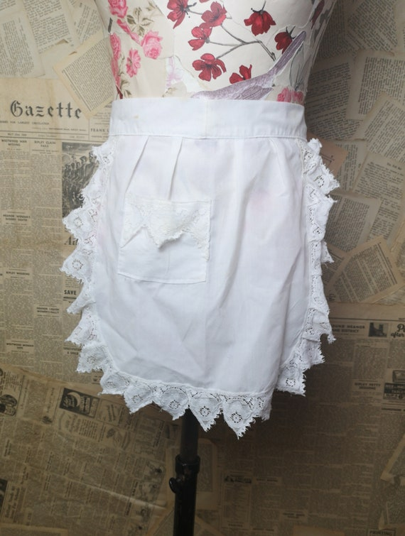 Vintage French maids apron, half apron, cotton and lace, 1920's