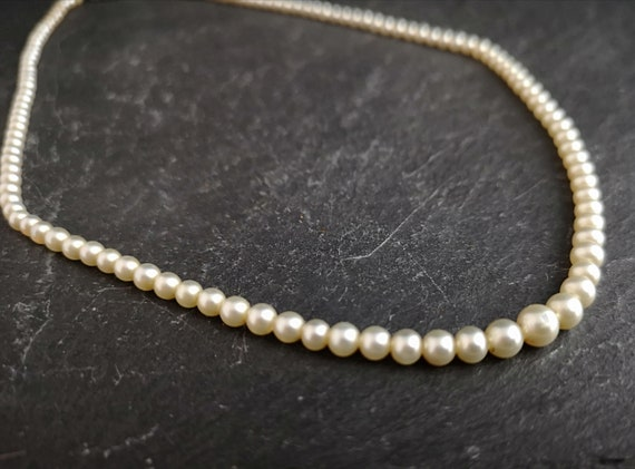Vintage faux pearl necklace, 1930's, single strand