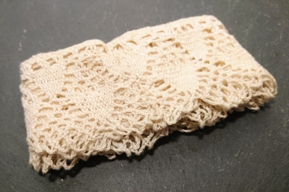 Antique irish crochet lace, length of lace edging, craft, millinery, needlework
