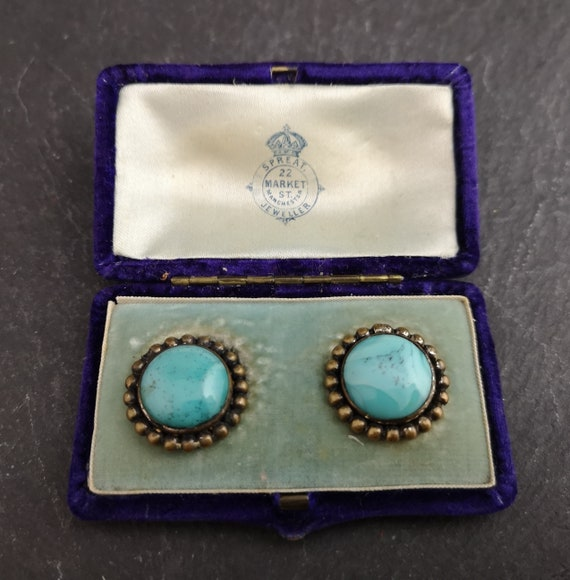 Vintage collar chain, collar tips, turquoise stone, boxed