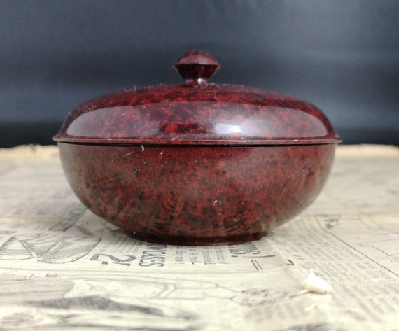 Vintage bakelite powder pot, marbled black and red, 30s
