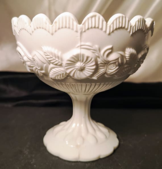 Antique sugar bowl, Victorian opaque white milk glass, pedestal sugar bowl, floral pressed glass