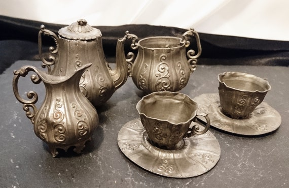 Antique pewter dolls tea set, rare Georgian era, tea for two, dolls house miniatures