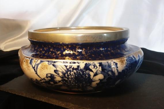 Antique salad bowl, Doulton Burslem, blue and white bowl, gilt accents, silver plated large bowl