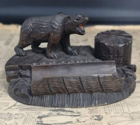 Antique black forest bear inkstand, desk tidy, Swiss Lime wood